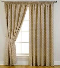 Thermal Self Lined Blackout Printed Dot Pencil Pleat Ready Made Curtains Taupe
