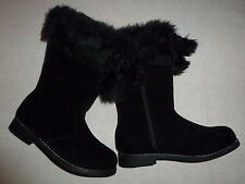 Gymboree CHEERY ALL THE WAY Black Faux Fur Pom Pom Boots NWT Winter Gift School