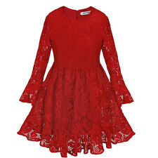 Flower Baby Girl Christmas Lace Long Sleeve Bow Party Bridesmaids marriage Dress