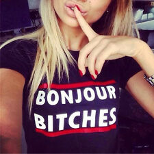 New Sexy Womens Printed Letters Tee T-Shirt Short Sleeve Casual Slim Blouse Tops