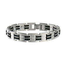 Sabona Executive Stainless/Rubber Magnetic Bracelet