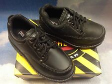 Skechers Black Leather Moc Toe Lace Oxford Uniform Shoe Toddler Size 11, 11.5