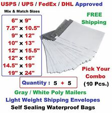Pick Your Combo 10 (5+5) Poly Mailers Shipping Envelopes Plastic Mailing Bags
