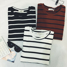 Nice Fashion Women Short Sleeve Casual T-shirt Stripe Blouse Basic Tops Shirt