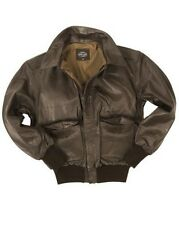 MIL-TEC US PILOT A2 LEATHER FLIGHT JACKET MENS CLASSIC MILITARY ARMY BOMBER
