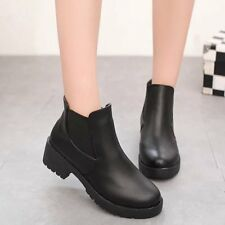 US women's black solid color black pu leather chunky heel ankle boots shoes size