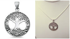 "Sterling Silver 925 ""TREE OF LIFE"" PENDANT 31MM WITH SNAKE CHAIN NECKLACE 16"""