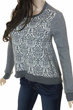 WILT Grey & Ivory High Low Angled Scroll Print Front Body New Sweatshirt Top