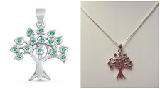 ".925 Sterling Silver ""TREE OF LIFE CZ PENDANT"" WITH BOX CHAIN 015 NECKLACE 18"""