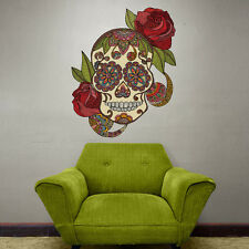 Day of the Dead Skull with Roses Wall Sticker Decal – Sugar Skull by Valentina