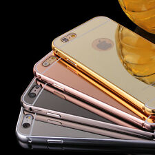 NEW Make-up Luxury Mirror Effect Colour Tempered Glass Metal Frame Case Cover ES