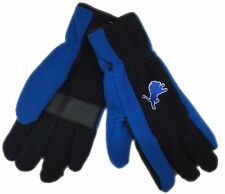 Detroit Lions Mens NFL 3M Thinsulate Fleece Black Blue Gloves New W/Tags Osfm
