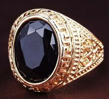 18K GOLD EP CZ SAPPHIRE OVAL CUT MENS DRESS RING SIZE 8-11 YOU CHOOSE