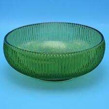 Vintage EO Brody Co Green Ribbed Round Glass Bowl Cleveland OH USA EUC