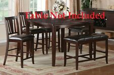 Contemporary Upholstered Dark Brown Faux Bold Designs Counter Height Chairs Set