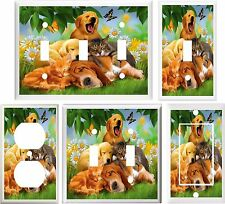 DOGS  CATS DAISES & BUTTERFLIES LIGHT SWITCH COVER PLATE OR OUTLET V262