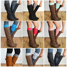 Stretch Lace Boot Cuffs Flower Leg Warmers Lace Trim Toppers Socks Colors