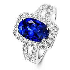 925 Silver Glod Filled Sapphire Birthstone Engagement weeding Ring 283