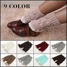 Hot Womens Crochet Knit Knitted Lace Trim Leg Warmers Cuffs Toppers Boot Socks