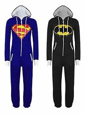 Unisex Womens Mens Superman Batman Playsuit Ladies All In One Piece Jumpsuit USA