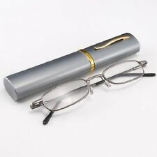 Ultra Slim Compact Lightweight Reading Glasses Readers Eyewear Aluminum Pen Tube