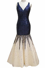 Blue sequin bodice with nude skirt mermaid long V neck prom dress gown