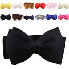 Women Girls Vogue Bowknot Elastic Bow Wide Stretch Buckle Waistband Waist Belt