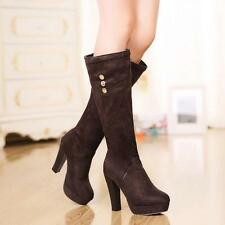 Fashion Knee High Boots Womens Platform Chunky High Heel Pull On Casual Shoes Sz