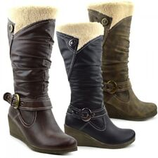 Womens Ladies Wedge Heel Mid Calf Quilted Zip Snow Faux Fur Lined Winter Boots