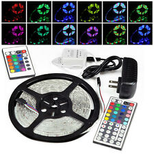 5M RGB 3528 300LED SMD Flexible Light Strip Lamp +24/44 Key +12V 2A Power Supply