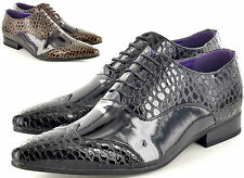 Mens Leather Lined Crocodile Skin Pointed Winkle Pickers Patent  Shiny Shoes