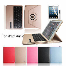 Apple iPad 6 Air 2 Bluetooth Wireless Keyboard Leather folio Case Stand Cover
