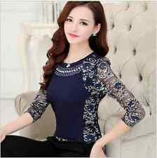 Fancy Lace Top Blouse Long Sleeve Crystal Mesh Sheer Work Evening Elegant Classy