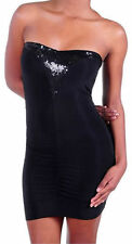 Dress Medium Black Sequin Ruched Stretch Club Sexy New M Mini Solid Party