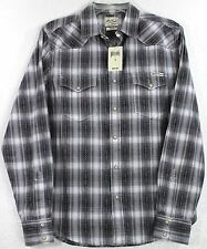 NWT Lucky Brand Gray Fancy Plaid Pearl Snap Long Sleeve Western Shirt Choose Sze