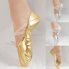 Women Girl Satin Gold/Silver Ballet Pointe Gymnastics Sequin Leather Dance Shoes