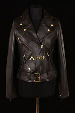 Brando Black with Gold Ladies Classic Biker Cruiser Real Cowhide Leather Jacket