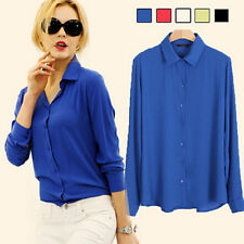 Elegant Women Soild Chiffon Loose Long Sleeve Button Casual Shirt Tops Blouse