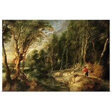 Poster Print Wall Art entitled A Shepherd with his Flock in a Woody landscape,