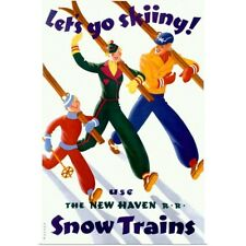 Poster Print Wall Art entitled Lets Go Skiing, Snow Trains, Vintage Poster