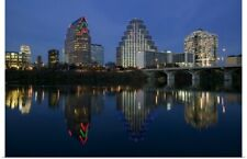Poster Print Wall Art entitled Reflection of buildings in water, Town Lake,