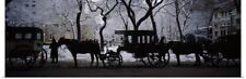 Poster Print Wall Art entitled Silhouette of horse drawn carriages, Chicago,