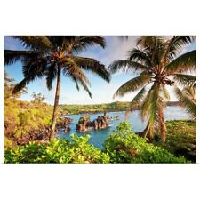 Poster Print Wall Art entitled Palm trees and coastline, wainapanapa state park