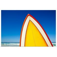 Poster Print Wall Art entitled Yellow and orange retro surfboard at beach, Eyre
