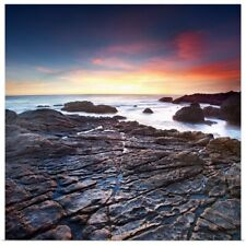 Poster Print Wall Art entitled Sunset on a rocky California beach, Malibu