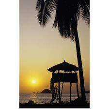 Poster Print Wall Art entitled Mexico, Ixtapa Coast, Beach Bungalow And Palm