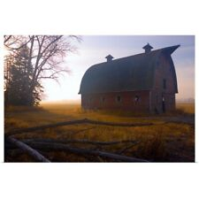 Poster Print Wall Art entitled A Barn Sits In Morning Mist