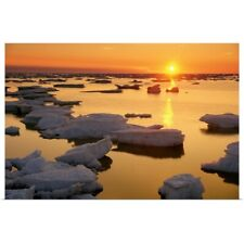 Poster Print Wall Art entitled Ice Floes And Sunset, Hudson Bay, Churchill,