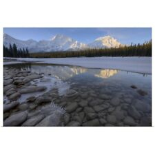 Poster Print Wall Art entitled Winter Sunrise On The Athabasca River, Alberta,