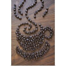 Poster Print Wall Art entitled A cup of coffee illustrated using coffee beans